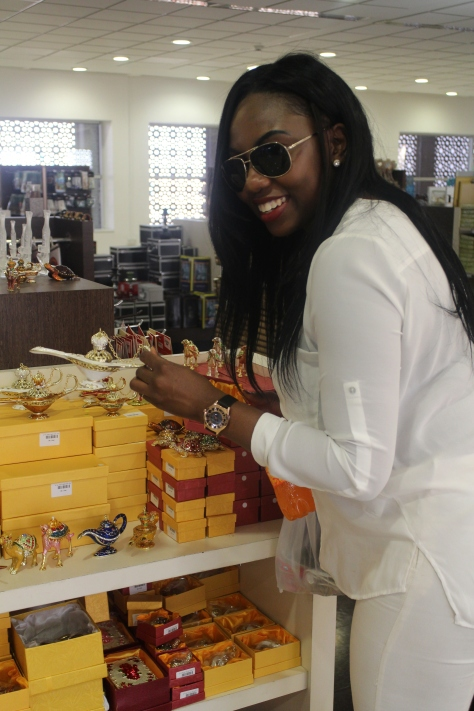 We flew Oman Air (fantastic airline) and stopped over in Oman. Bunmi couldn't resist buying some stuff even though the holiday had barely begun!