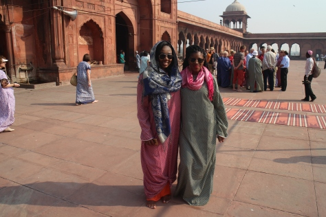 Jama Masjid - largest mosque in India. Had to cover up in these robes for respect. I think we made it work
