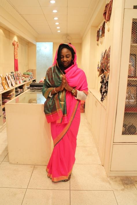 Bunmi looking very zen in a sari